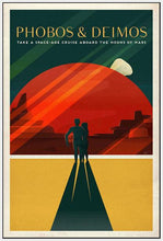 60098_FW4_- titled 'Space X Mars Tourism Poster for Phobos and Deimos' by artist Vintage Reproduction - Wall Art Print on Textured Fine Art Canvas or Paper - Digital Giclee reproduction of art painting. Red Sky Art is India's Online Art Gallery for Home Decor - V1843