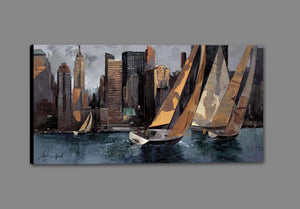 222241_GS1 'Sailboats in Manhattan I' by artist Marti Bofarull - Wall Art Print on Textured Fine Art Canvas or Paper - Digital Giclee reproduction of art painting. Red Sky Art is India's Online Art Gallery for Home Decor - 111_BMP306