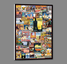 40002_GS1_- titled 'Vintage Poster Collage' by artist Anonymous - Wall Art Print on Textured Fine Art Canvas or Paper - Digital Giclee reproduction of art painting. Red Sky Art is India's Online Art Gallery for Home Decor - 43_1750-0755