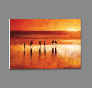 45192_GS1_ - titled 'Camel Crossing' by artist Jonathan Sanders - Wall Art Print on Textured Fine Art Canvas or Paper - Digital Giclee reproduction of art painting. Red Sky Art is India's Online Art Gallery for Home Decor - 55_WDC21183