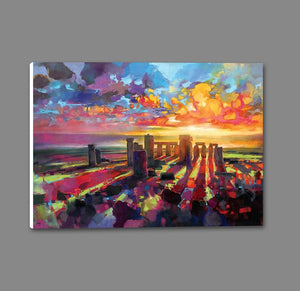 45129_GS1_ - titled 'Stonehenge Equinox' by artist Scott Naismith - Wall Art Print on Textured Fine Art Canvas or Paper - Digital Giclee reproduction of art painting. Red Sky Art is India's Online Art Gallery for Home Decor - 55_WDC96373