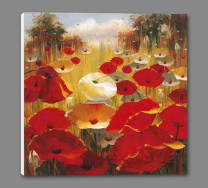 34648_GS1_- titled 'Meadow Poppies III' by artist Lucas Santini - Wall Art Print on Textured Fine Art Canvas or Paper - Digital Giclee reproduction of art painting. Red Sky Art is India's Online Art Gallery for Home Decor - 762_TR36618