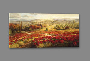 34732_GS1_- titled 'Red Poppy Panorama' by artist Roberto Lombardi - Wall Art Print on Textured Fine Art Canvas or Paper - Digital Giclee reproduction of art painting. Red Sky Art is India's Online Art Gallery for Home Decor - 761_TR3063