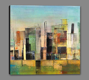 76058_GS1_- titled 'Golden City 1' by artist Asha Menghrajani - Wall Art Print on Textured Fine Art Canvas or Paper - Digital Giclee reproduction of art painting. Red Sky Art is India's Online Art Gallery for Home Decor - 761_TR33135