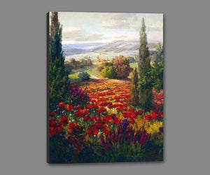 76006_GS1_- titled ' Fields of Bloom' by artist Roberto Lombardi - Wall Art Print on Textured Fine Art Canvas or Paper - Digital Giclee reproduction of art painting. Red Sky Art is India's Online Art Gallery for Home Decor - 761_TR3940