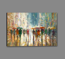 76069_GS1_- titled 'Downtown Rain' by artist Eric Jarvis - Wall Art Print on Textured Fine Art Canvas or Paper - Digital Giclee reproduction of art painting. Red Sky Art is India's Online Art Gallery for Home Decor - 761_TR42187