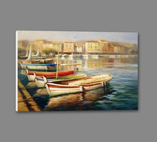 34592_GS1_- titled 'Harbor Morning II' by artist Roberto Lombardi - Wall Art Print on Textured Fine Art Canvas or Paper - Digital Giclee reproduction of art painting. Red Sky Art is India's Online Art Gallery for Home Decor - 761_TR5346