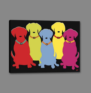 34553_GS1_- titled 'Five Labs' by artist Jim Williams - Wall Art Print on Textured Fine Art Canvas or Paper - Digital Giclee reproduction of art painting. Red Sky Art is India's Online Art Gallery for Home Decor - 761_TR8900