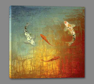 35013_GS1_- titled 'Koi Zen' by artist MJ Lew - Wall Art Print on Textured Fine Art Canvas or Paper - Digital Giclee reproduction of art painting. Red Sky Art is India's Online Art Gallery for Home Decor - 762_TR12362