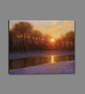 60172_GS1_- titled 'Morning on the Missouri ' by artist  Brent Cotton - Wall Art Print on Textured Fine Art Canvas or Paper - Digital Giclee reproduction of art painting. Red Sky Art is India's Online Art Gallery for Home Decor - C3140