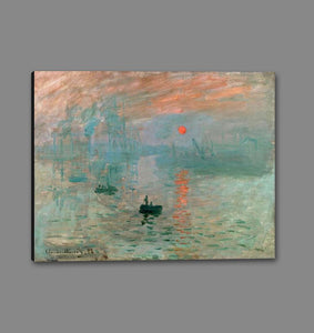 60201_GS1_- titled 'Impression, Sunrise ' by artist  Claude Monet - Wall Art Print on Textured Fine Art Canvas or Paper - Digital Giclee reproduction of art painting. Red Sky Art is India's Online Art Gallery for Home Decor - M2037