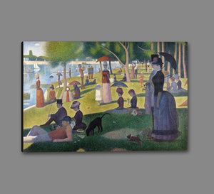 60109_GS1_- titled 'Sunday Afternoon on the Island of Grande Jatte 1864' by artist Georges Seurat - Wall Art Print on Textured Fine Art Canvas or Paper - Digital Giclee reproduction of art painting. Red Sky Art is India's Online Art Gallery for Home Decor - S1615