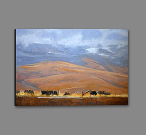 60110_GS1_- titled 'North Powder Cows' by artist Todd Telander - Wall Art Print on Textured Fine Art Canvas or Paper - Digital Giclee reproduction of art painting. Red Sky Art is India's Online Art Gallery for Home Decor - T1642