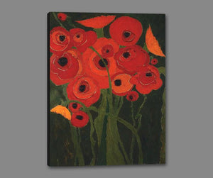 60147_GS1_- titled 'Wild Poppies' by artist Karen Tusinski - Wall Art Print on Textured Fine Art Canvas or Paper - Digital Giclee reproduction of art painting. Red Sky Art is India's Online Art Gallery for Home Decor - T698
