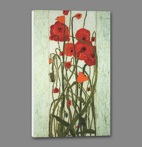 60240_GS1_- titled 'Poppy Garden' by artist Karen Tusinski - Wall Art Print on Textured Fine Art Canvas or Paper - Digital Giclee reproduction of art painting. Red Sky Art is India's Online Art Gallery for Home Decor - T700