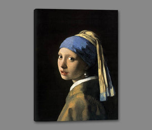 60185_GS1_- titled 'Girl with a Pearl Earring' by artist Jan Vermeer - Wall Art Print on Textured Fine Art Canvas or Paper - Digital Giclee reproduction of art painting. Red Sky Art is India's Online Art Gallery for Home Decor - V108