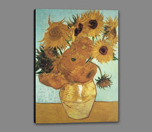 60205_GS1_- titled 'Sunflowers on Blue, 1888' by artist Vincent van Gogh - Wall Art Print on Textured Fine Art Canvas or Paper - Digital Giclee reproduction of art painting. Red Sky Art is India's Online Art Gallery for Home Decor - V209