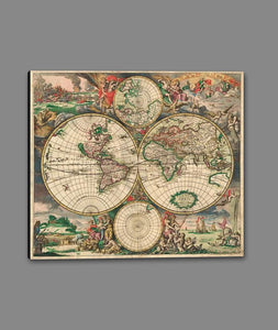 60242_GS1_- titled 'World Map 1689' by artist Vintage Reproduction - Wall Art Print on Textured Fine Art Canvas or Paper - Digital Giclee reproduction of art painting. Red Sky Art is India's Online Art Gallery for Home Decor - V413