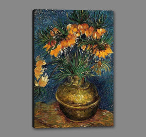 60207_GS1_- titled 'Crown Imperial Fritillaries in a Copper Vase, 1886' by artist Vincent van Gogh - Wall Art Print on Textured Fine Art Canvas or Paper - Digital Giclee reproduction of art painting. Red Sky Art is India's Online Art Gallery for Home Decor - V432