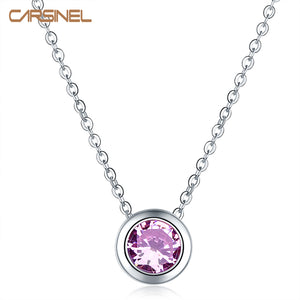 Purple Round Zircon Necklace & Pendants Fashion Chain