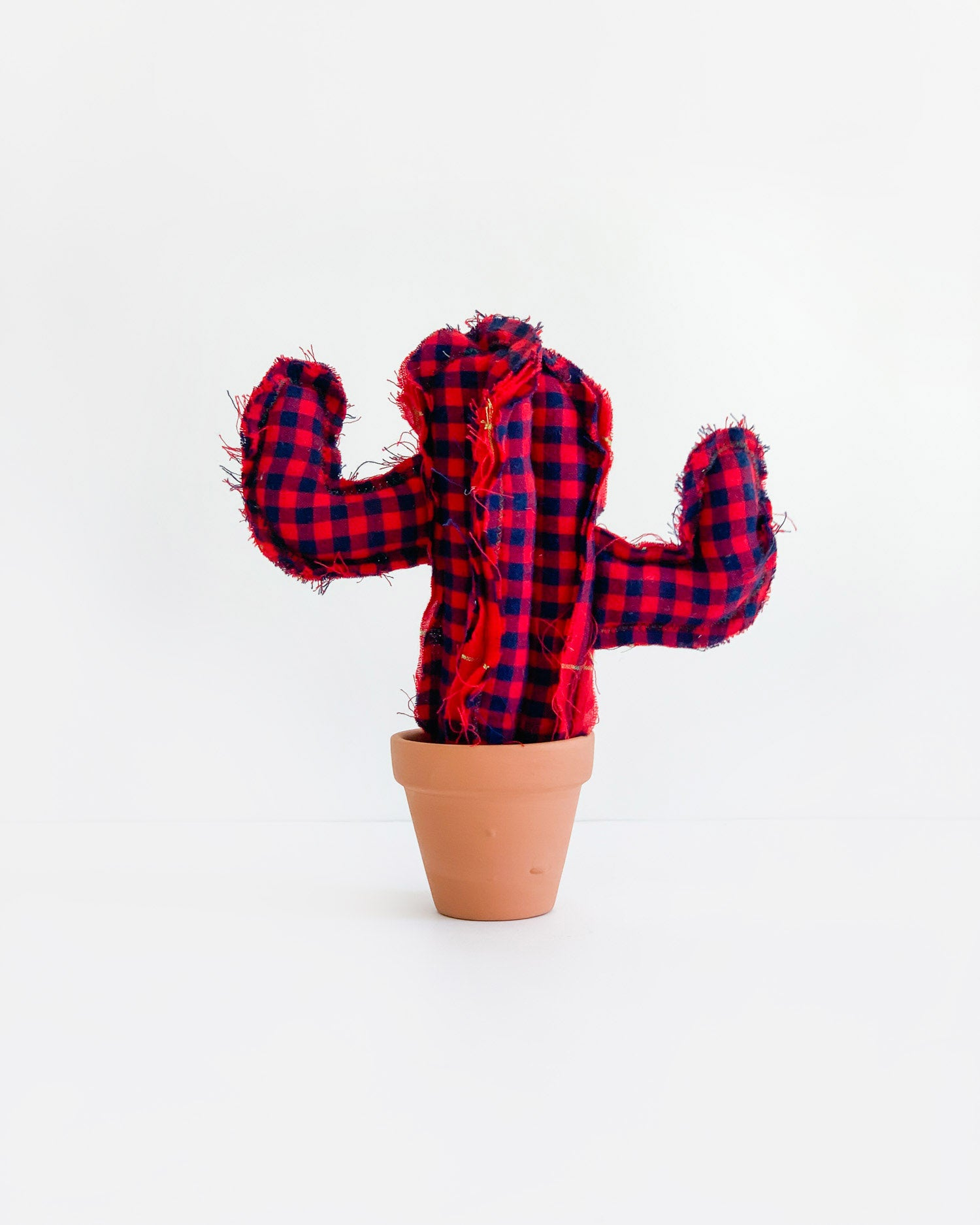 Mini Saguaro Cactus - Red Plaid (Sample)