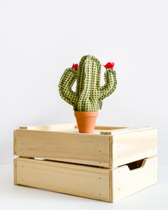 Mini Saguaro Cactus - Green Herringbone