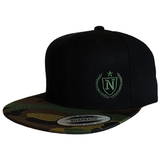 Classic Snapback Hats - Black/Camo w/ Military Green