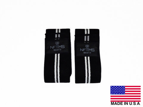 Elite Knee Wraps - Black w/ White