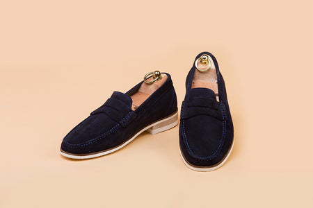 Midnight Blue Suede Moccasin