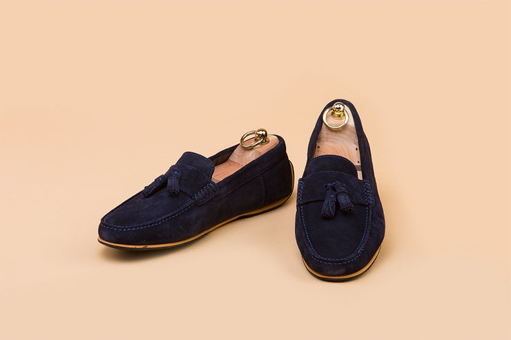 Midnight Blue Suede Tassel Driver