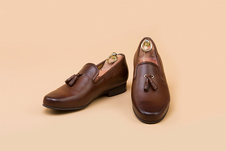 Dark Brown Leather Tassel Loafer