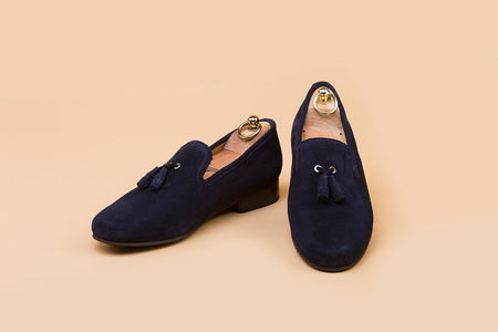 Midnight Blue Suede Tassel Loafer