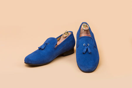 Azure Blue Suede Tassel Loafer