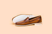 Two Tone Tan Leather Moccasin
