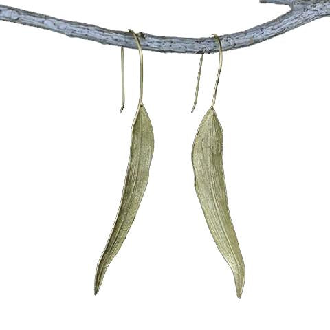 Women Silver Leaf Long Drop Earrings