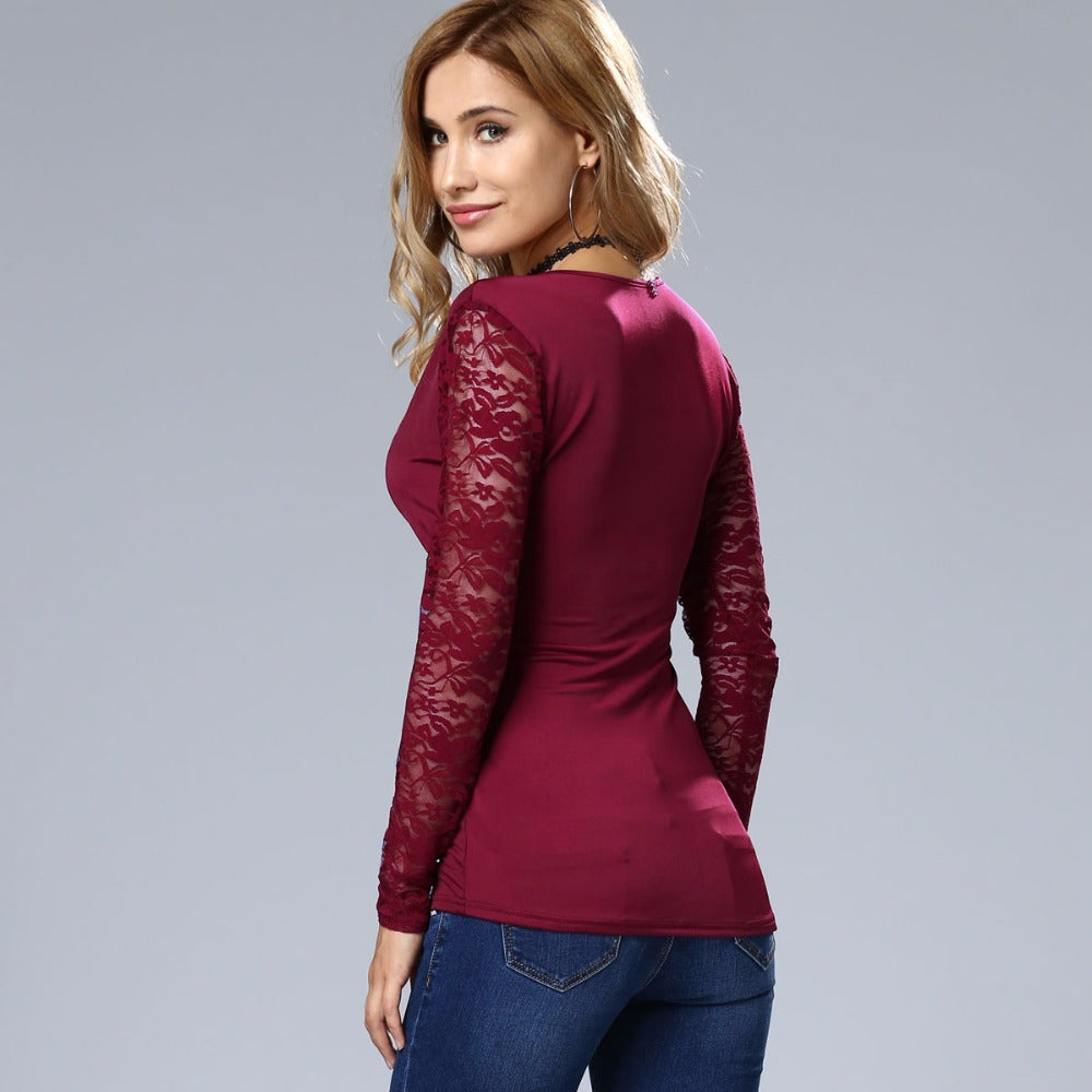 Anabelle Long-Sleeved Slim Lace Tops