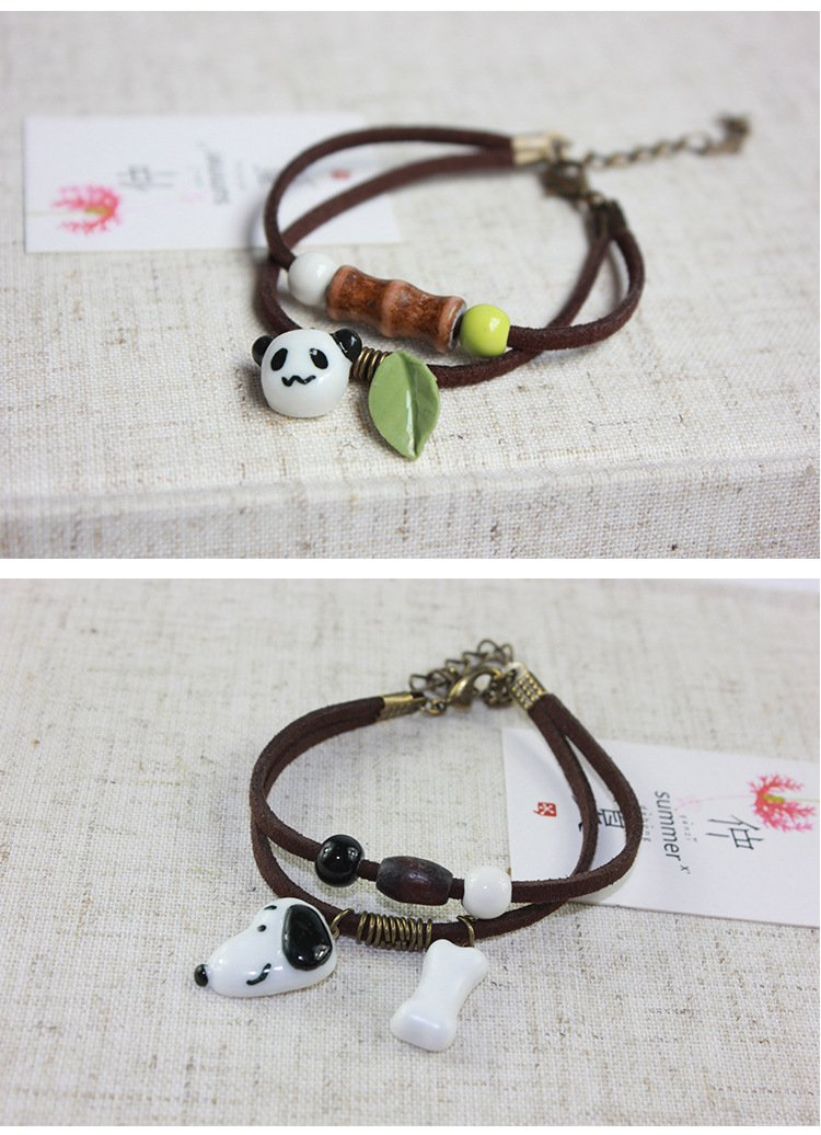 Animal Ceramic Design Pendant Bracelets For Women