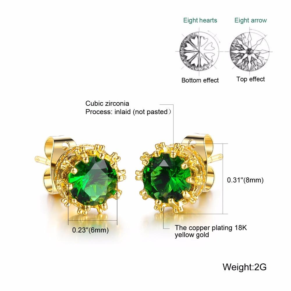 Vintage Round Cut Crystal Stud Earrings For Women