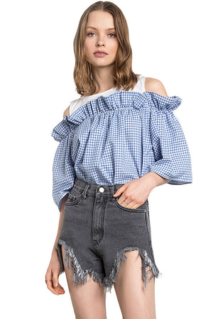 Lizbeth Plaid O-Neck Preppy Sweet Tops