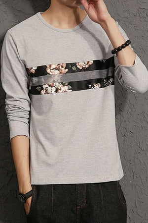 SEAN Casual Long Sleeve Cotton O-Neck T-Shirt