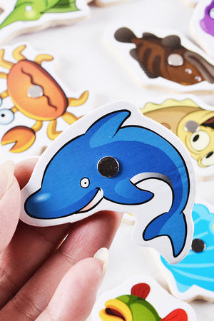 Baby Wooden magnetic Fishing learning puzzle 32 piece Toy