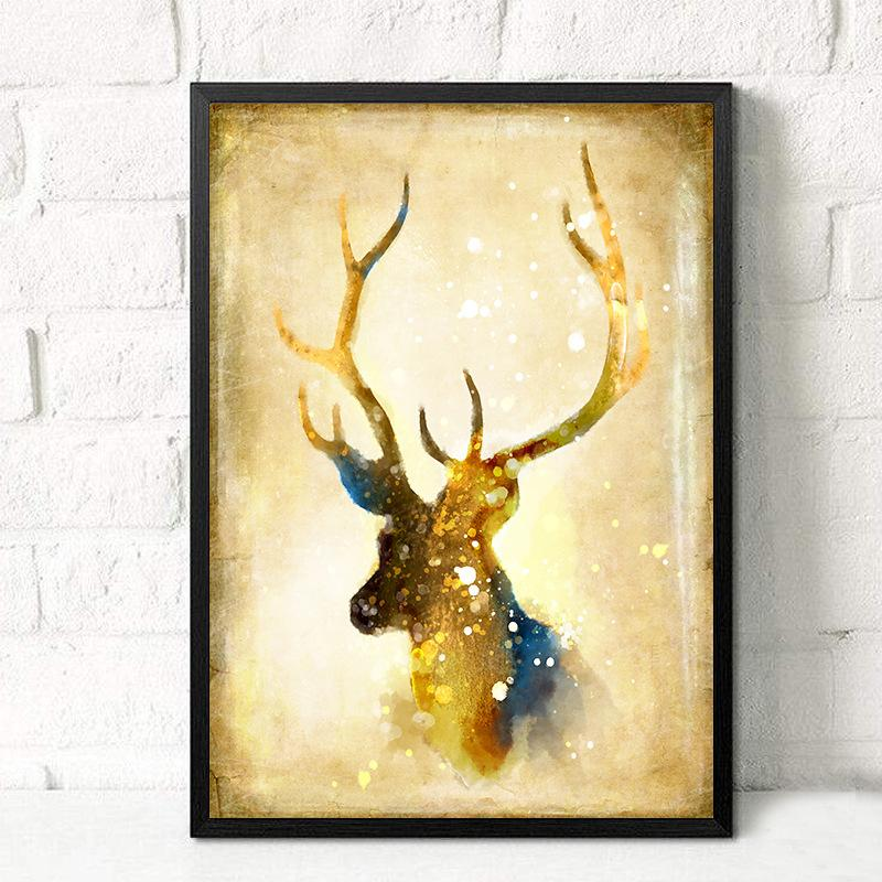 Gold-Colored Deer Canvas Painting Wall Decor – VowMart Online Shopping