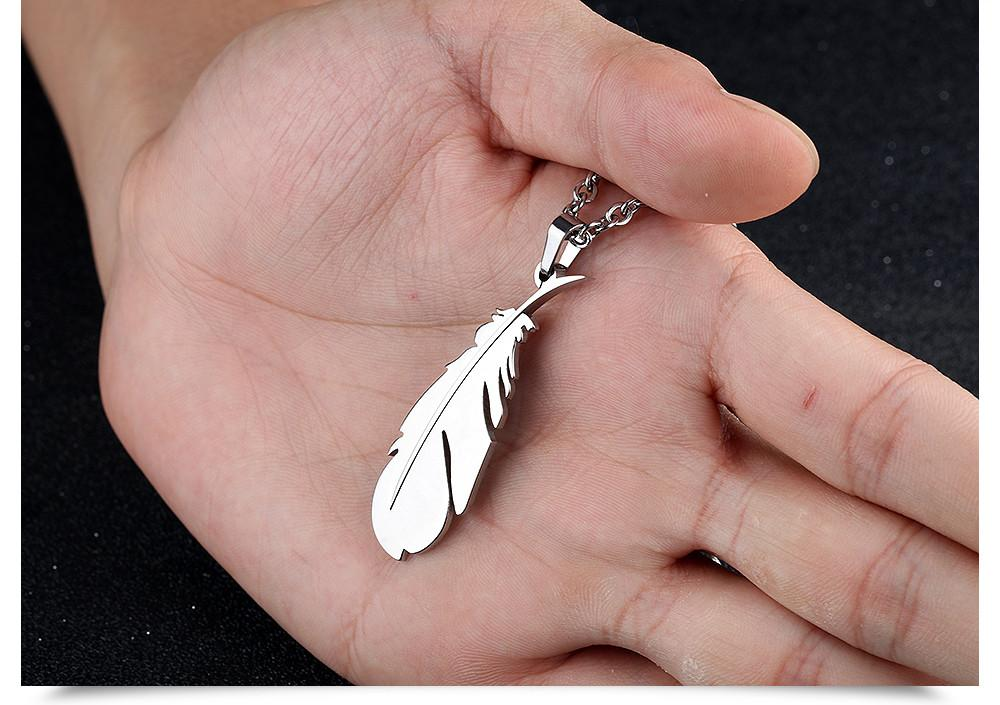 Stainless Steel Feather Pendant Necklaces For Men