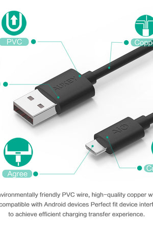 3x1.2m Quick Charge 2.0/3.0 USB Cable Hi-speed Micro USB Data Sync& Charging Cable