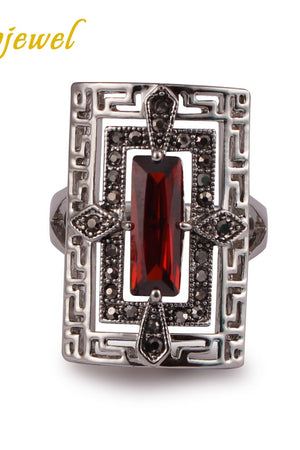 Vintage Style Black CZ Red Zircon Rings For Men