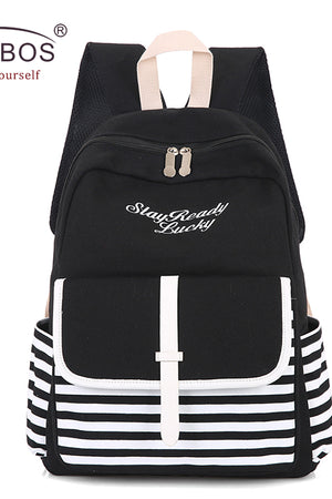 Trendy Striped Canvas Embroidery Laptop Backpacks