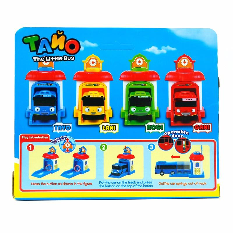 4pcs/set Korean Cute Cartoons Garage Mini Bus Model