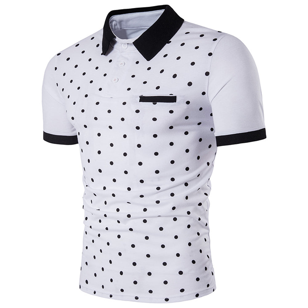 Polka dot polo shirt men clothing summer slim fit short for Mens polka dot shirt short sleeve