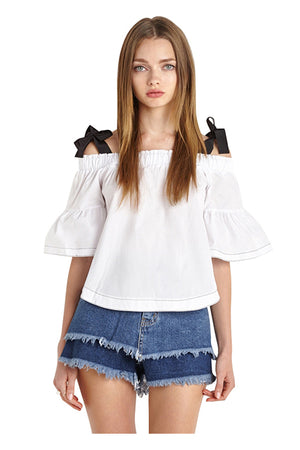 Priscilla Off Shoulder Casual Flare Sleeve Tops