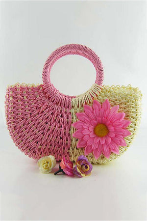 Women Straw Weave Zipper Totes Beach Handbag